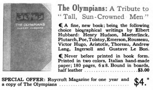 Ad for Hubbard's The Olympians in the 1921 issue of The Roycroft