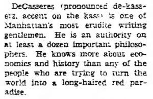 Charles Driscoll on the pronunciation of De Casseres