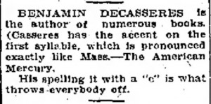 Dow Richardson on the pronunciation of Casseres